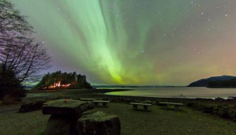 Shrine at night with Aurora